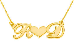 Name Chain 2 Letters And Heart Gold Name Necklace