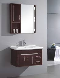 appealing brown woodne bath vanity and white square wall mounted