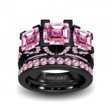 black and pink engagement rings cubic zirconia rings lover rings rings for sale cocktail ring