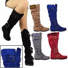 s boots calf length knee high flat boots ebay