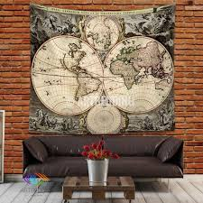 Vintage World Map by Antique World Map Wall Tapestry Vintage World Map Wall Hanging