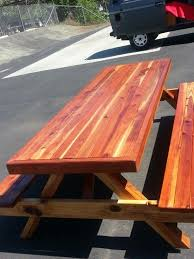 Picnic Table With Benches 8ft Oversized Wrapped Redwood Picnic Table With Benches Attached