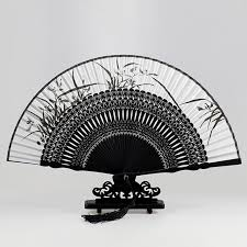 wholesale fans top fashion silk black leques japoneses bamboo folding