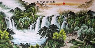 cuisine ang駘ique stunning original sansui watercolor painting landscape