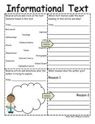 5th grade common core reading informational text organizers with