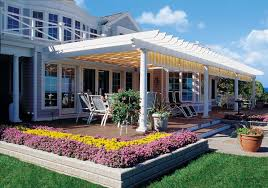 Covered Patio Ideas For Large by Backyard Covered Patios And Decks Shadetree White Vinyl Pergola