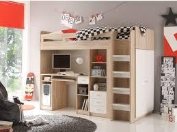 lit surélevé avec bureau lit mezzanine 90x200 cm avec étagères tiroirs armoire et bureau