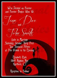 Nightmare Before Christmas Wedding Invitations Red And Black Jack And Sally Silhouette Nightmare Before