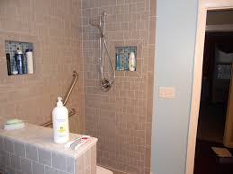 without door walk in shower with half divider and shower niche