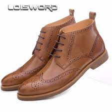 fashion black brown oxfords shoes mens boots genuine leather
