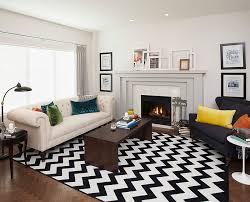 Chevron Shag Rug Living Room Stylish Chevron Living Room Ideas With White Leather