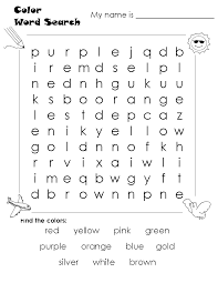 word search colors kids activities