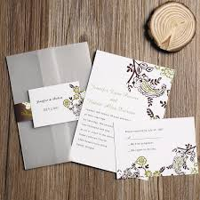 pocket invitation country brown green floral design pocket invitation iwgy058