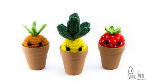 crochet garden decor home decor strawberry planter crochet