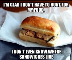 Food Memes - im glad i dont have to hunt for my food meme