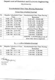 reschedule class time during ramadan eee city