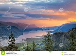 House Plans Washington State Sunrise Over Crown Point At Columbia River Gorge Stock Image