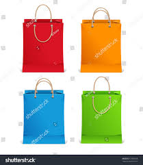 shopping bags orange blue green red stock vector 123885538