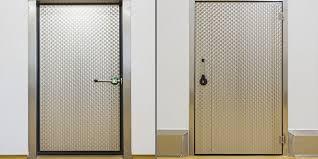isolation chambre porte industrielle battante en acier inoxydable à isolation