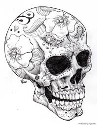 print halloween sugar skull 2 coloring pages free adults