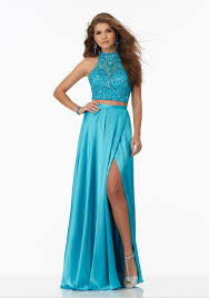 two piece prom dress with charmeuse skirt and fully beaded net top