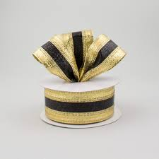 gold metallic ribbon 1 5 stripe metallic ribbon black gold 10 yards rg01536y5