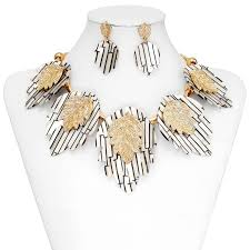 jewelry set acrylic leaf jewelry sets leaf necklace earrings set gold