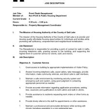 Job Description On Resume Cover Letter Front Desk Sample Resume Front Desk Coordinator