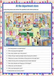 image description at the department store worksheet free esl