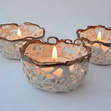 copper and porcelain tea light holder by carys boyle ceramics