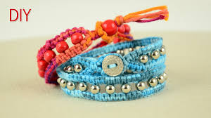 bracelet knots youtube images Beaded wrap bracelet with square knot and button clasp tutorial jpg