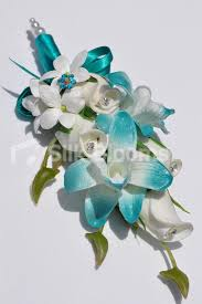 Turquoise Corsage Shop Turquoise Tipped Dendrobium Orchid White Rose Bud And
