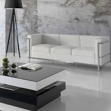 canapé 3 places cuir blanc canapé 3 places cuir blanc inox moderne design corbs univers du salon