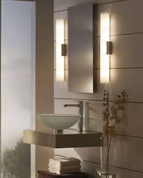 bathroom brown framed mirror with side lighting for bathroom wall