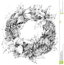 christmas wreath sketch of santa claus background stock