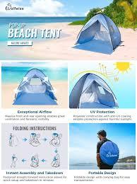 amazon com wolfwise upf 50 easy pop up beach tent instant sun