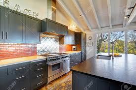 plancher cuisine luxe cuisine moderne foncé avec plafond en bois voûté