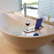 wooden bathtub reading tray caddy with wine and book holder plus