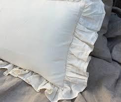 Shabby Chic Pillow Shams by Amazon Com A Pair Of Cream Ruffle Euro Sham Covers Linen Ruffle