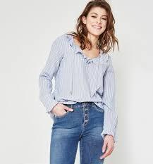 frilly blouse frilly blouse navy blue stripes shirts tunics promod