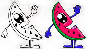 how to draw watermelon slice cute youtube
