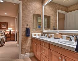 Rustic Master Bathroom Ideas - rustic master bathroom with carpet u0026 frameless in irvine ca