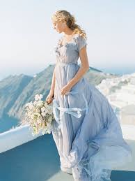 gentle grey wedding dress with floral decoration romantic wedding
