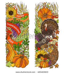 colourful thanksgiving vertical ornaments isolated on stock