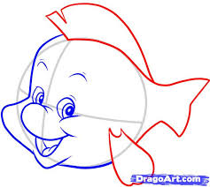 draw flounder step step disney characters cartoons