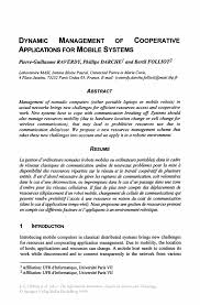 Resume Affiliations Dynamic Management Of Cooperative Applications For Mobile Systems