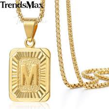 gold letter necklace pendants images Mens women chain gold plated pendant necklace square initial jpg