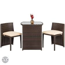 small patio furniture wicker table and chairs space saver bistro set