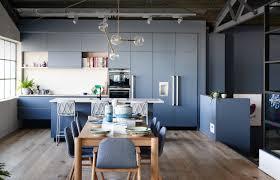 kitchen island with built in table appliances minimalist blue kitchen island white tile backsplash