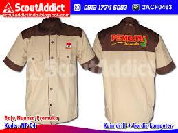desain jaket warna coklat baju pramuka pusat bikin pin id card kta di kediri